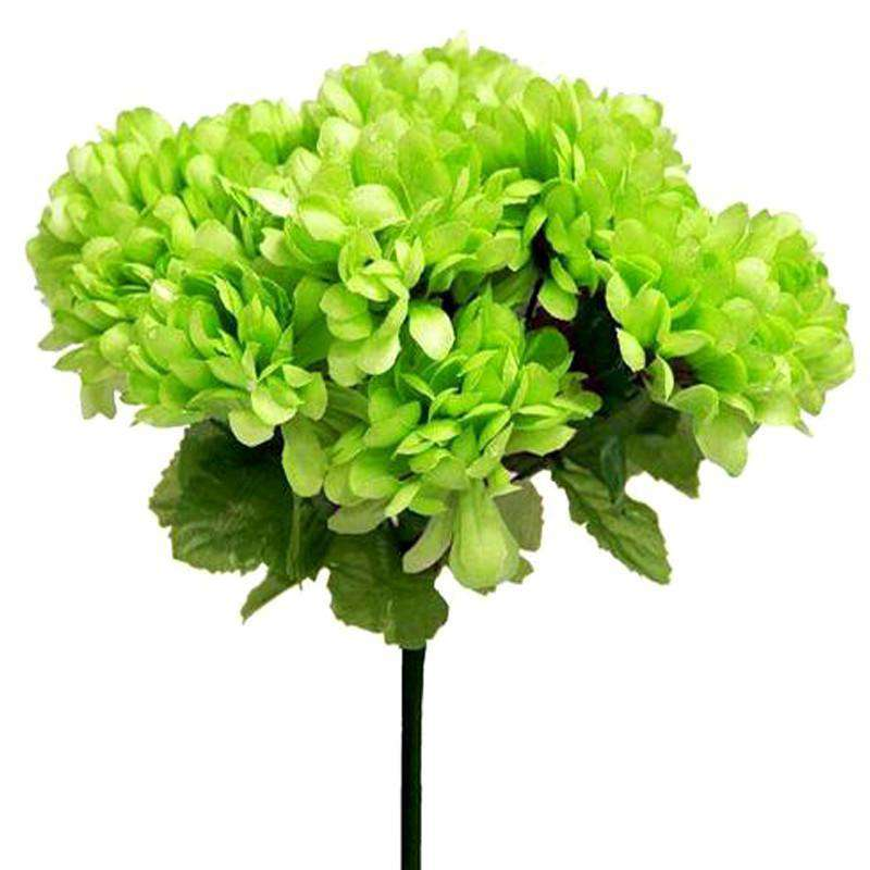 84 Artificial Silk Chrysanthemum Wedding Flower Bush Bouquet Centerpiece Decor - Lime