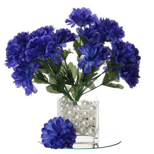 12 Bush 84 pcs Navy Blue Artificial Silk Chrysanthemum Flower Bridal Bouquet Wedding Decoration