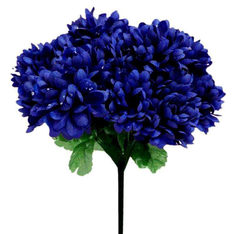 84 Artificial Silk Chrysanthemum Wedding Flower Bush Bouquet Centerpiece Decor - Navy Blue