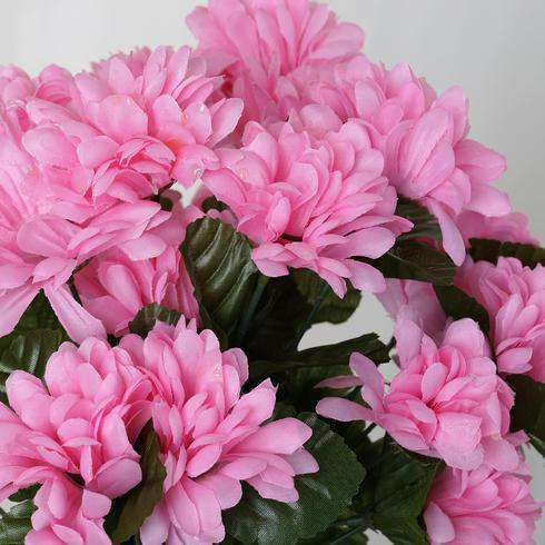 12 Bush 84 pcs Pink Artificial Silk Chrysanthemum Flower Bridal Bouquet Wedding Decoration