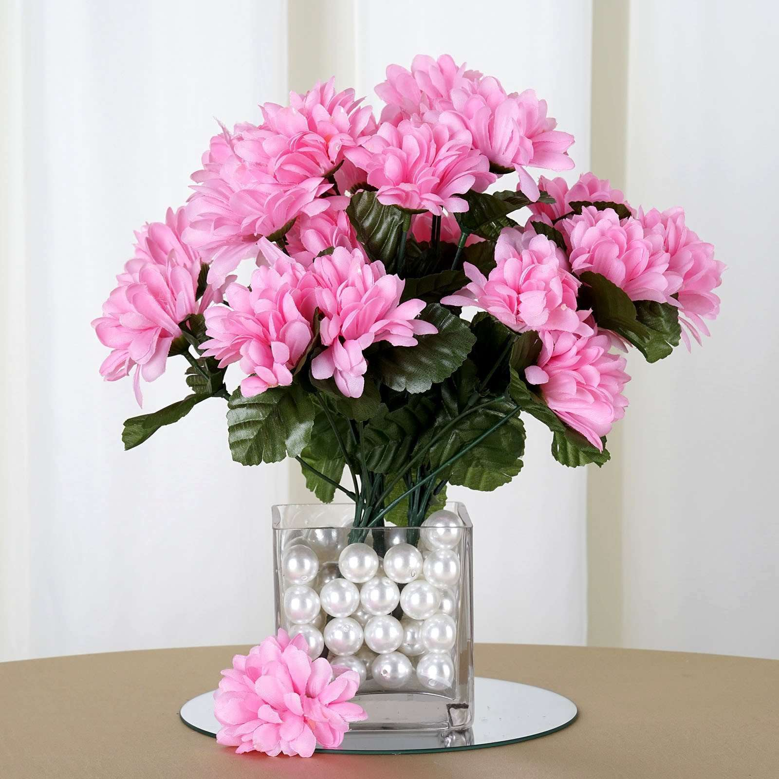 12 Bush 84 Pcs Pink Artificial Silk Chrysanthemum Flower Bridal