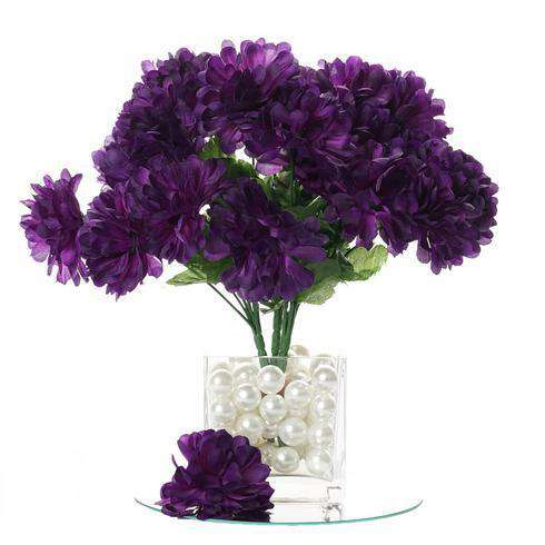 12 Bush 84 pcs Purple Artificial Silk Chrysanthemum Flower Bridal Bouquet Wedding Decoration