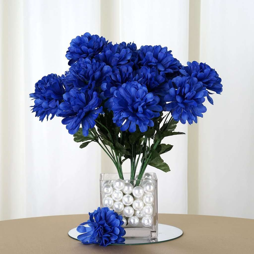 12 Bush 84 Pcs Royal Blue Artificial Silk Chrysanthemum Flower