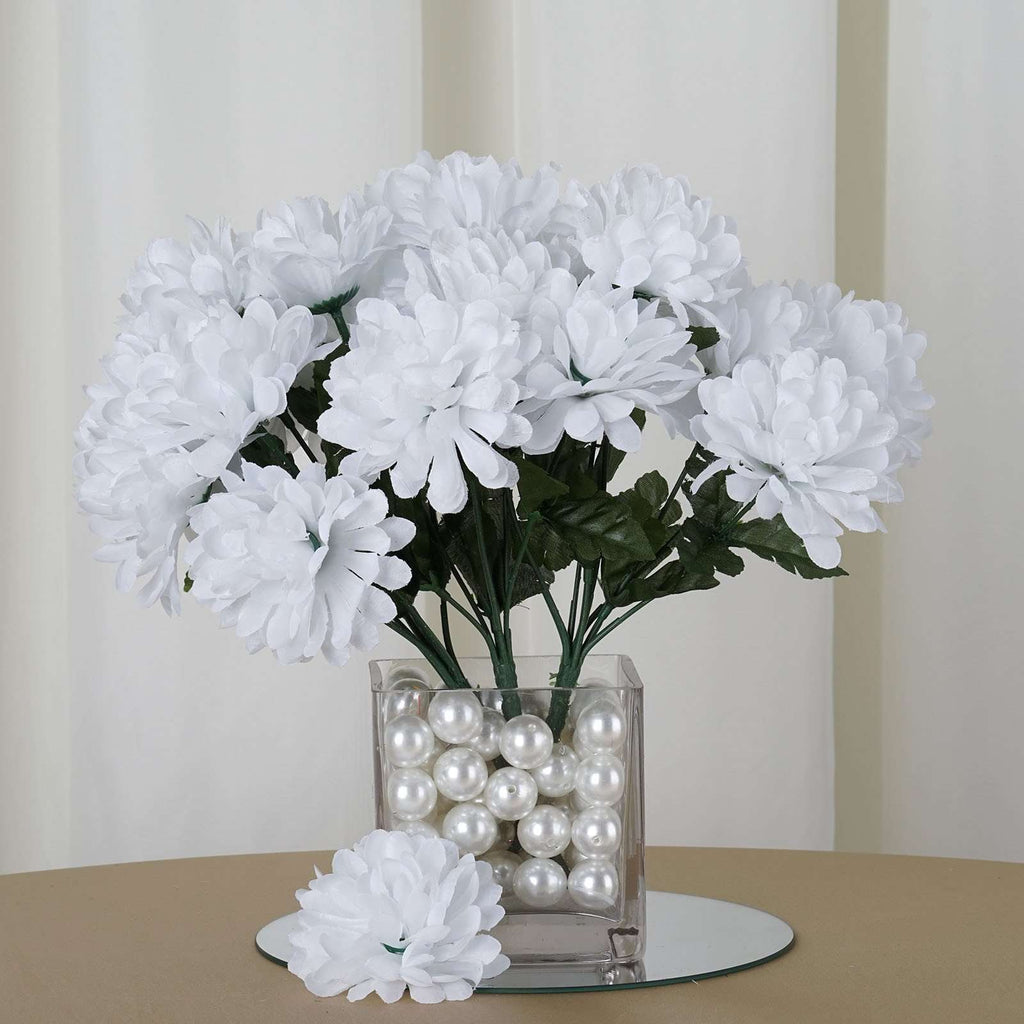 12 Bush 84 pcs White Artificial Silk Chrysanthemum Flower Bridal Bouquet Wedding Decoration