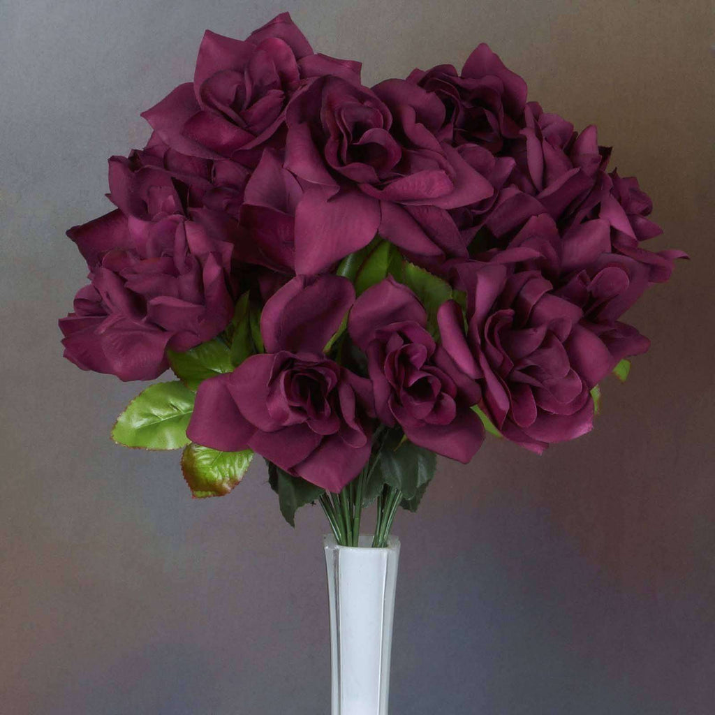 168 Wholesale Artificial Velvet Bloom Roses Wedding Flower Vase Centerpiece Decor - Burgundy