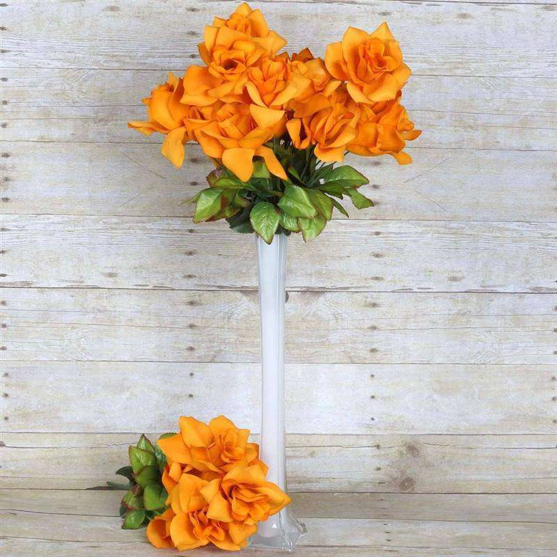 168 Wholesale Artificial Velvet Bloom Roses Wedding Flower Vase Centerpiece Decor - Orange