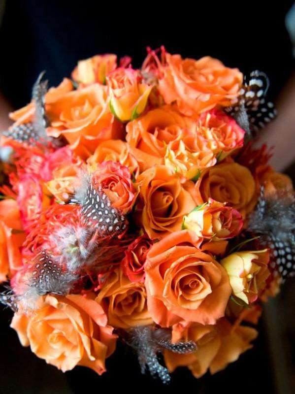 24 Bush 168 Pcs Orange Artificial Velvet Bloom Roses Flower Bridal Bouquet Wedding Decoration