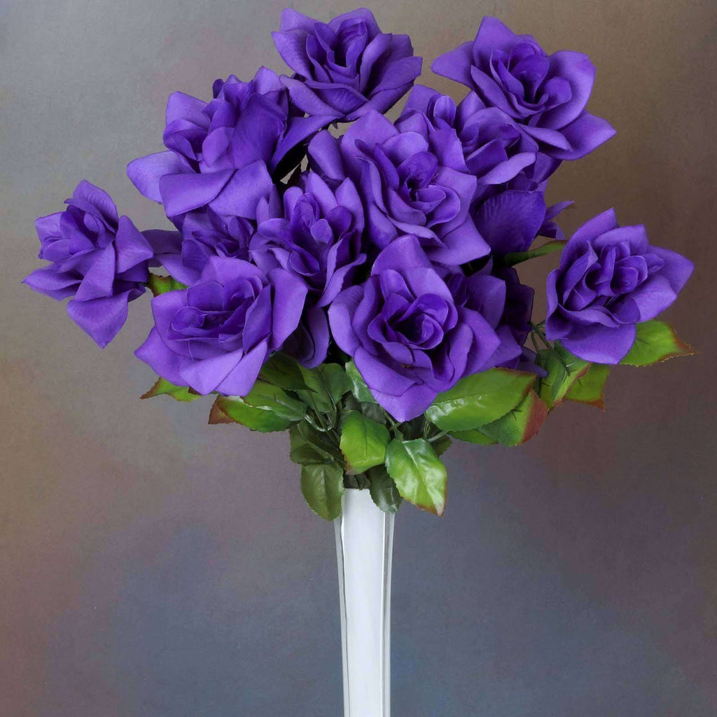 168 Wholesale Artificial Velvet Bloom Roses Wedding Flower Vase Centerpiece Decor -Purple