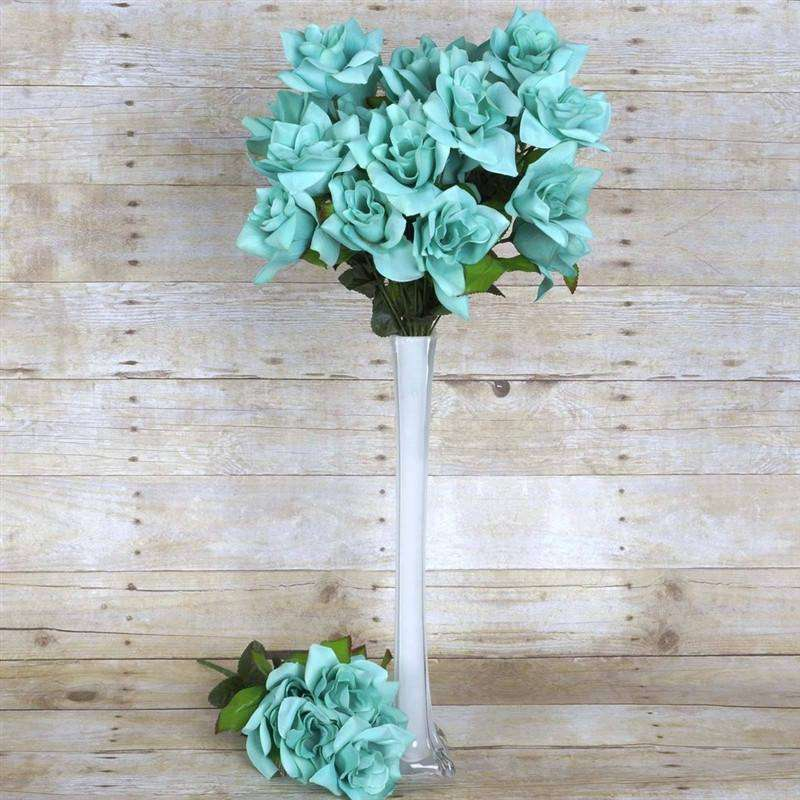 168 Wholesale Artificial Velvet Bloom Roses Wedding Flower Vase Centerpiece Decor - Turquoise