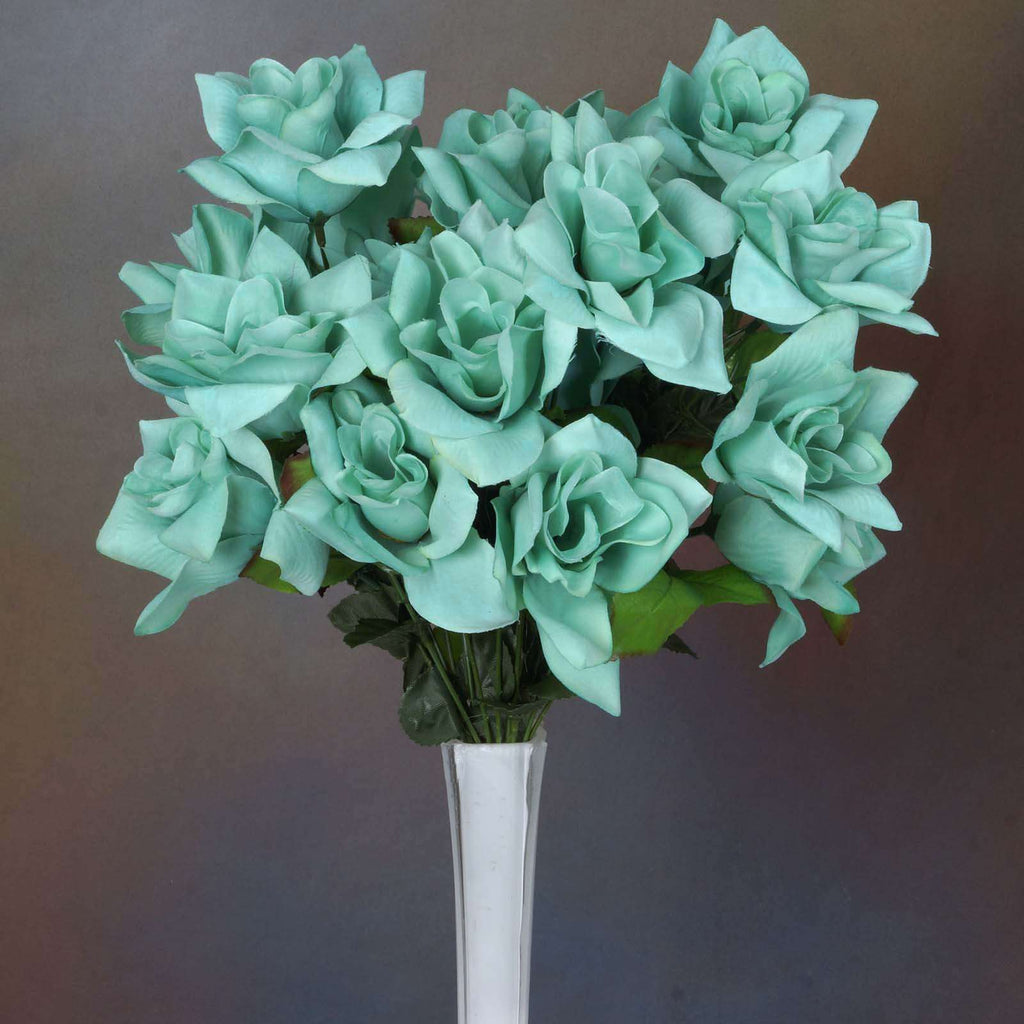 24 Bush 168 Pcs Turquoise Artificial Velvet Bloom Roses Flower Bridal Bouquet Wedding Decoration