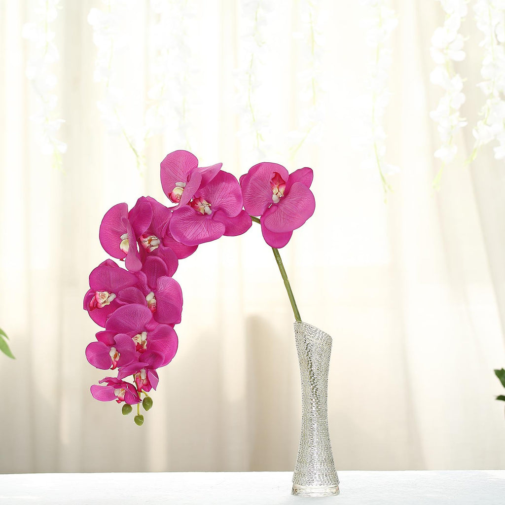 "2 Pcs | Fushia | 40"" Tall Silk Orchid Stems 