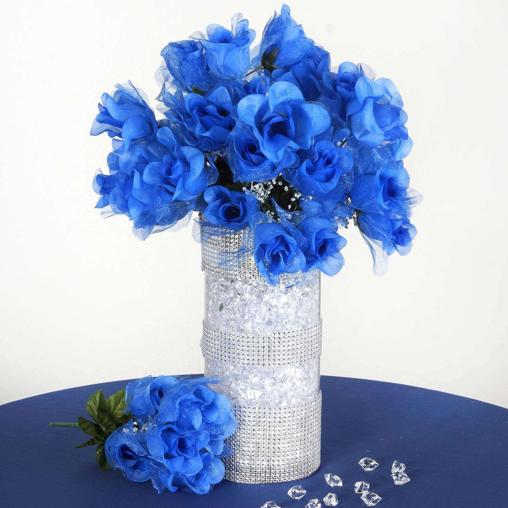 12 Bush 84 pcs Royal Blue Artificial organza Rose Bud Flowers Bridal Bouquet Wedding Decoration