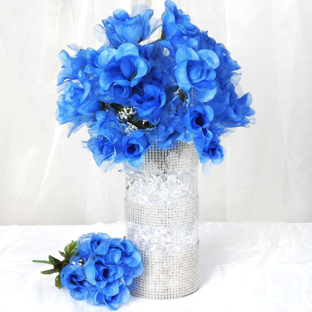 84 Wholesale Organza Rose Buds Wedding Vase Centerpiece Decor - Royal