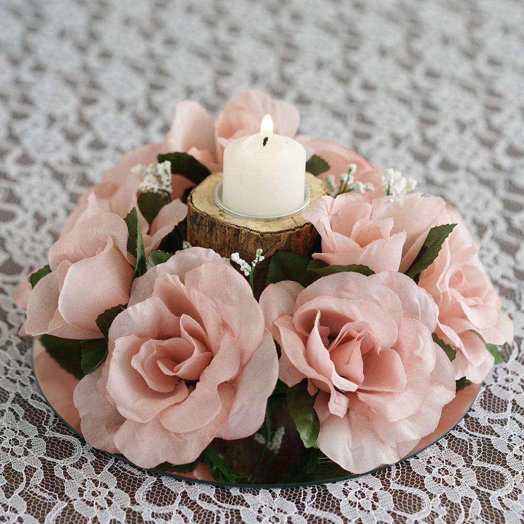 8 Pack Rose Gold/Blush Artificial Silk Rose Floral Candle Rings Wedding Tabletop Decoration