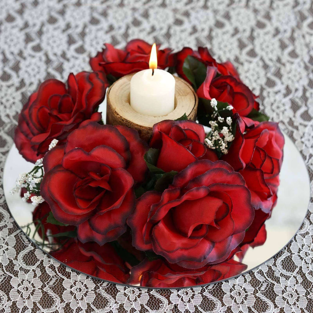 8 PCS Wholesale Candle Rings Wedding Flower Rose Tabletop Centerpieces Gift - Black/Red