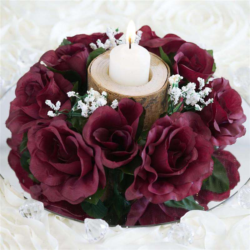 8 pack burgundy artificial silk rose floral candle rings wedding 8 pcs wholesale candle rings wedding flower rose tabletop centerpieces gift burgundy mightylinksfo