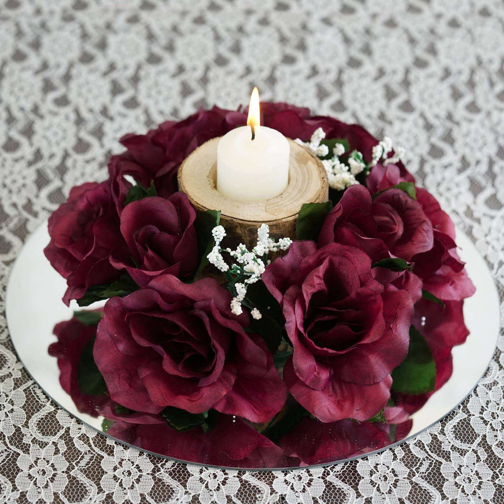 8 PCS Wholesale Candle Rings Wedding Flower Rose Tabletop Centerpieces Gift - Burgundy
