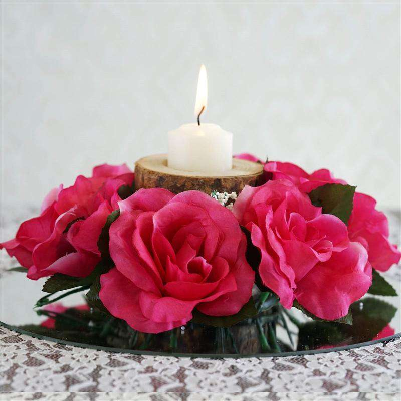 8 PCS Wholesale Candle Rings Wedding Flower Rose Tabletop Centerpieces Gift - Fushia