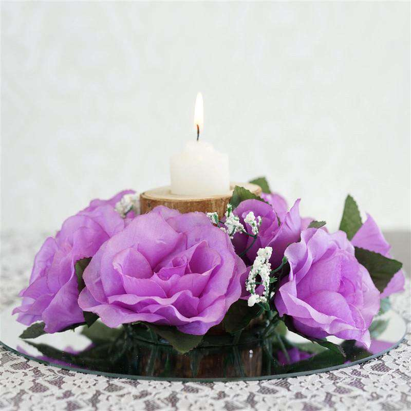 8 PCS Wholesale Candle Rings Wedding Flower Rose Tabletop Centerpieces Gift - Lavender