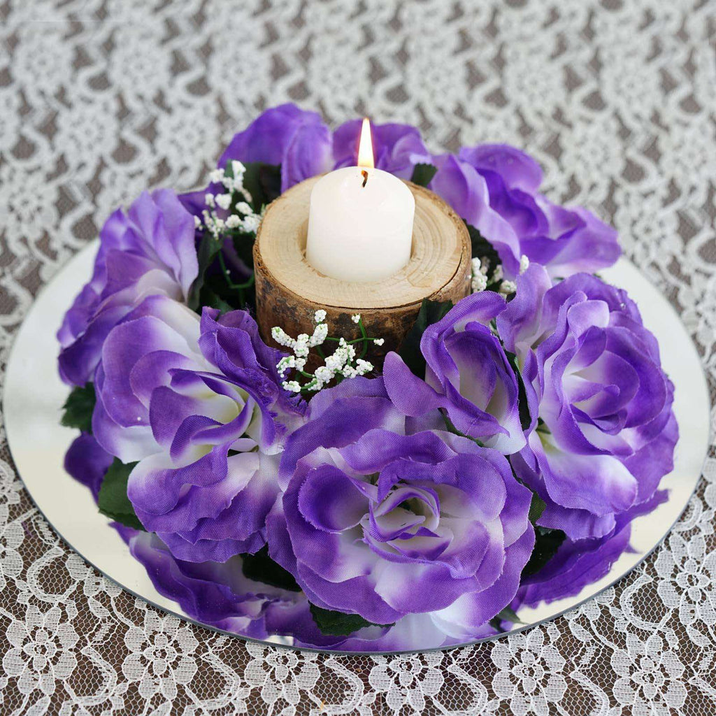8 PCS Wholesale Candle Rings Wedding Flower Rose Tabletop Centerpieces Gift - Purple