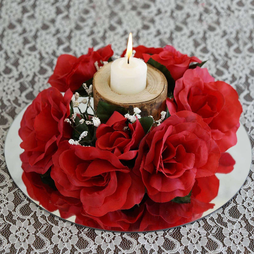 8 PCS Wholesale Candle Rings Wedding Flower Rose Tabletop Centerpieces Gift - Red