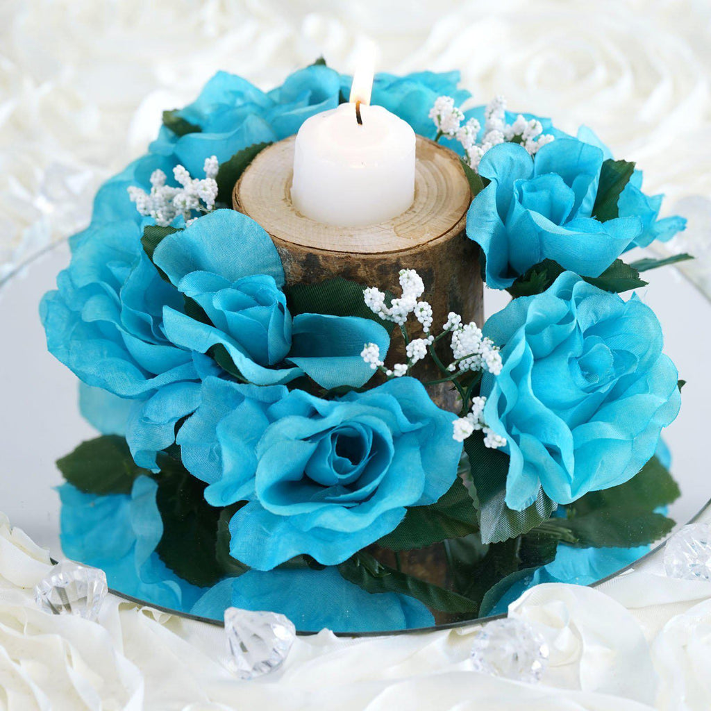 8 Pack Turquoise Artificial Silk Rose Floral Candle Rings Wedding Tabletop Decoration