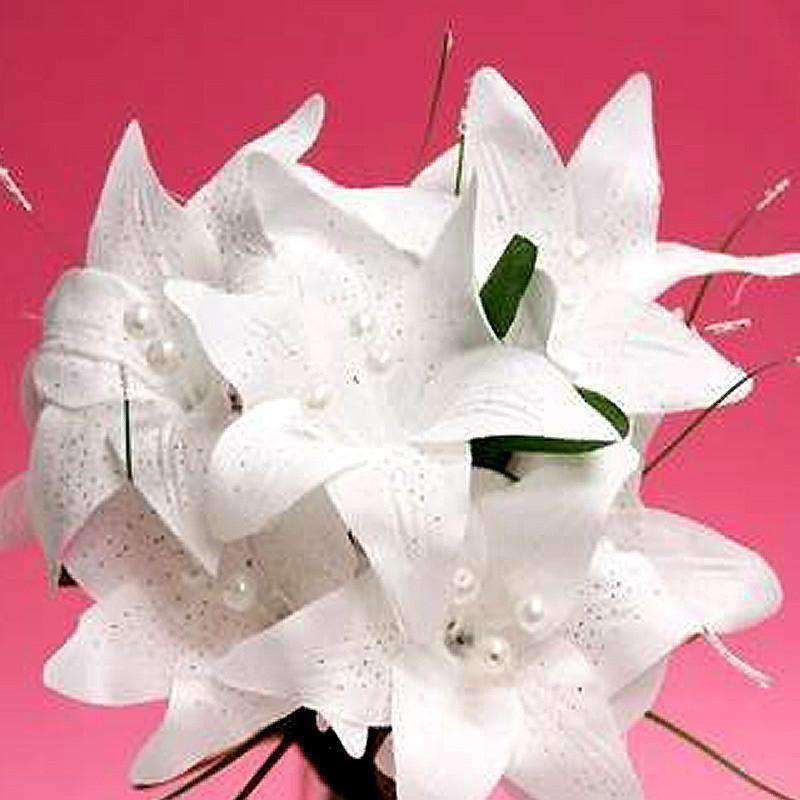 70 Artificial Silk Tiger Lily Wedding Flower Bouquet Vase Centerpiece Decor - White