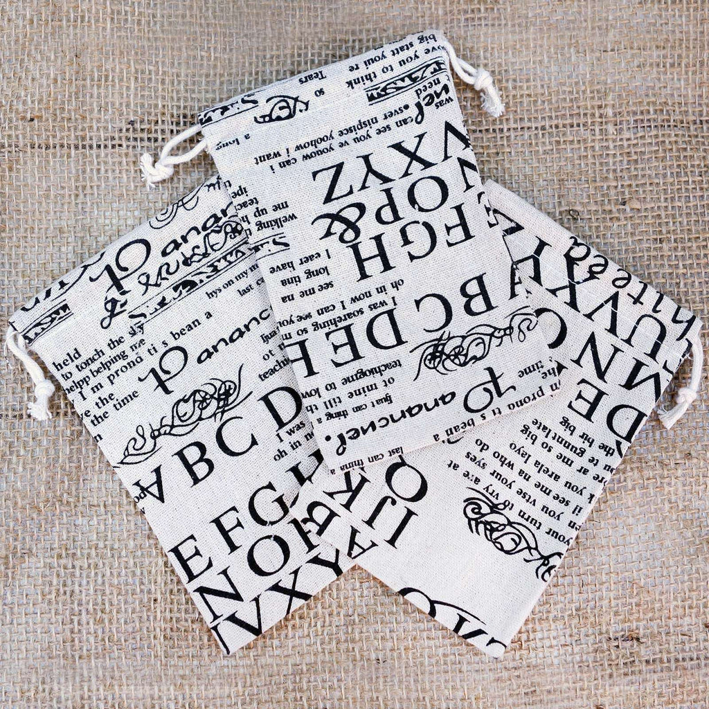 Printed Cotton Bag with Text laid out flat