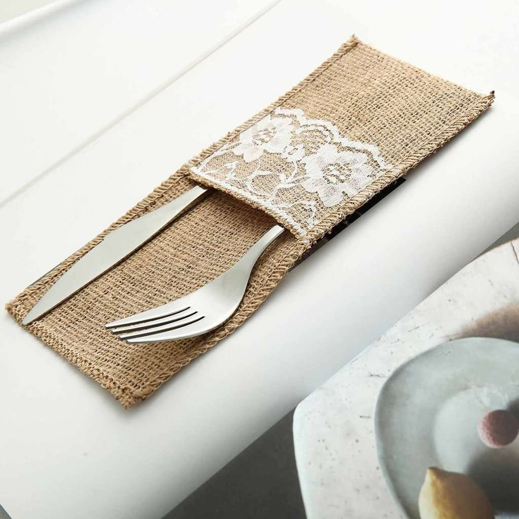 10 Pack 4 X 8 Natural Burlap Silverware Napkin Holders Cutlery Hol Chaircoverfactory
