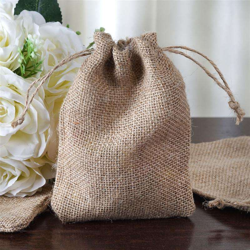 "5""x7"" Jute Burlap Bag - 10/pk - Natural"