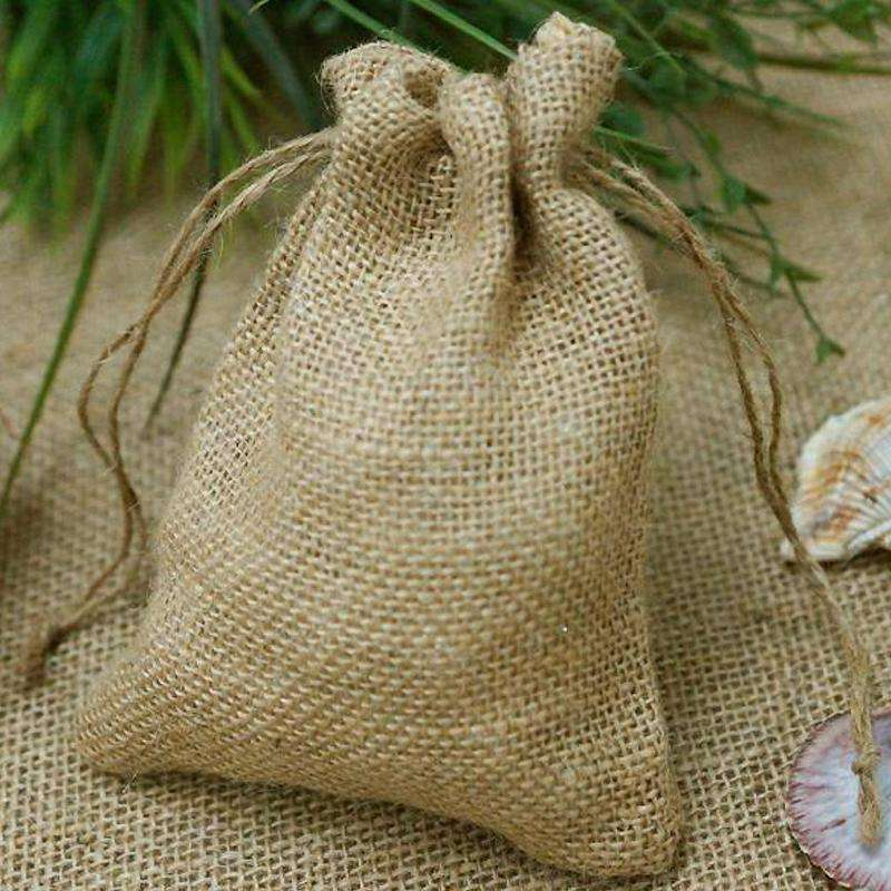 "10 Pack 7"" Natural Jute Burlap Favor Bags"
