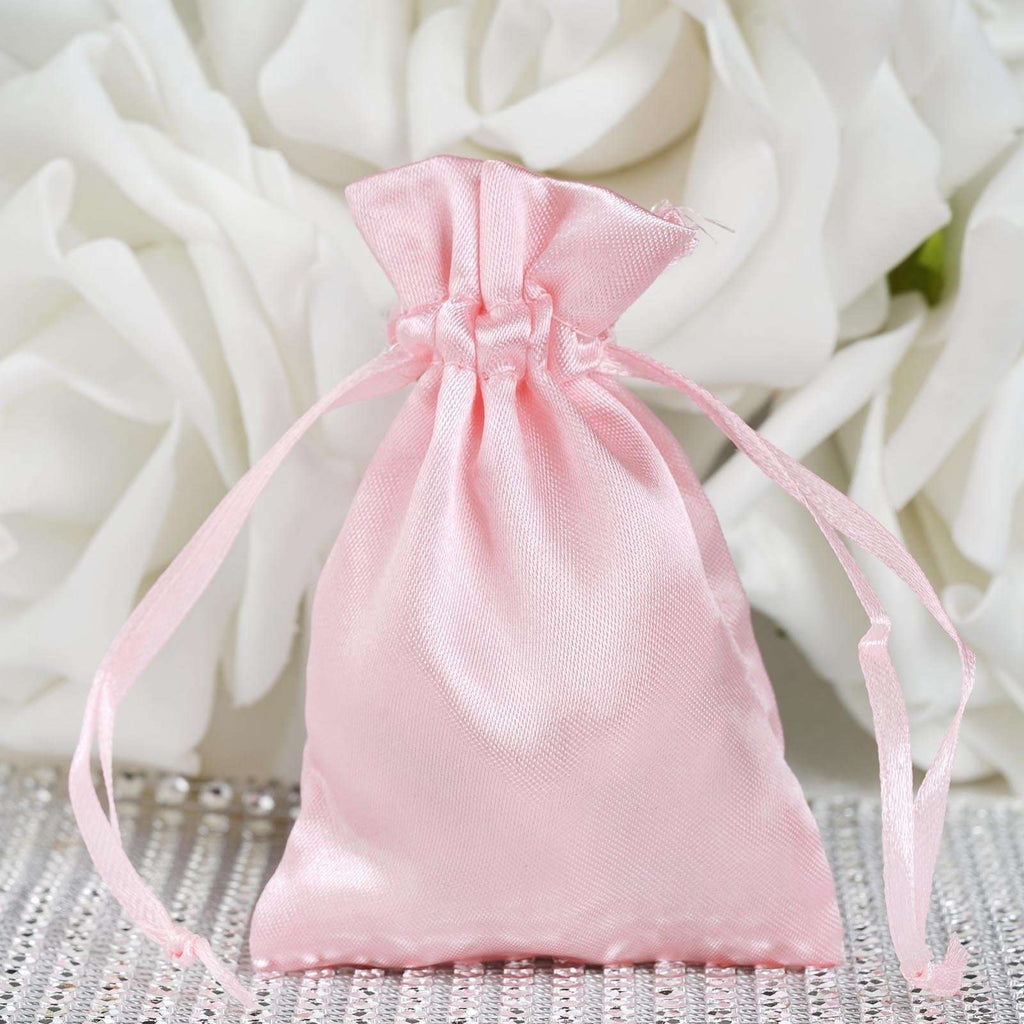 "12 Pack 3x4""  Satin Drawstring Bags- Rose Gold 