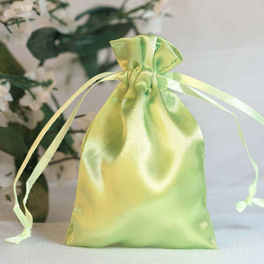 "12 Pack 3x4"" Apple Green Satin Drawstring Bags"