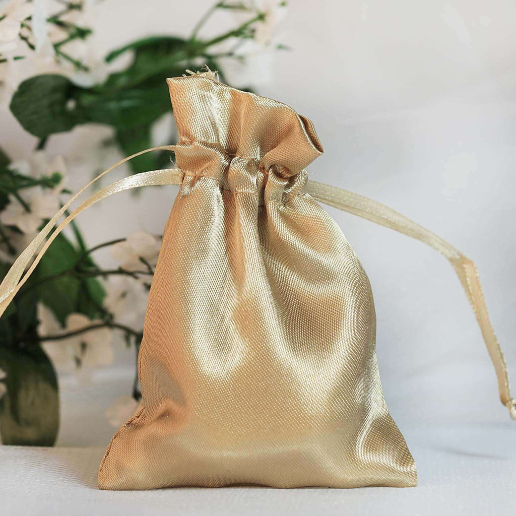 "12 Pack 3x4"" Champagne Satin Drawstring Bags"
