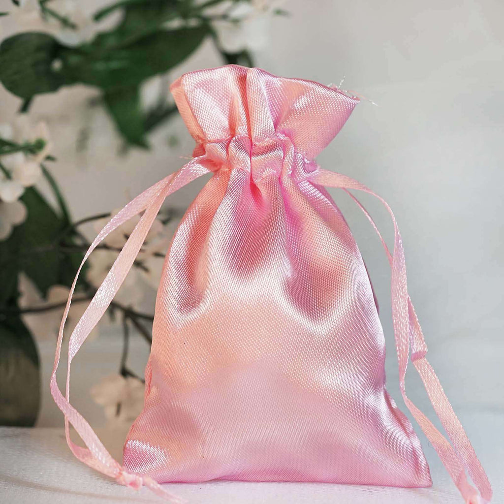 "12 Pack 3x4"" Pink Satin Drawstring Bags"