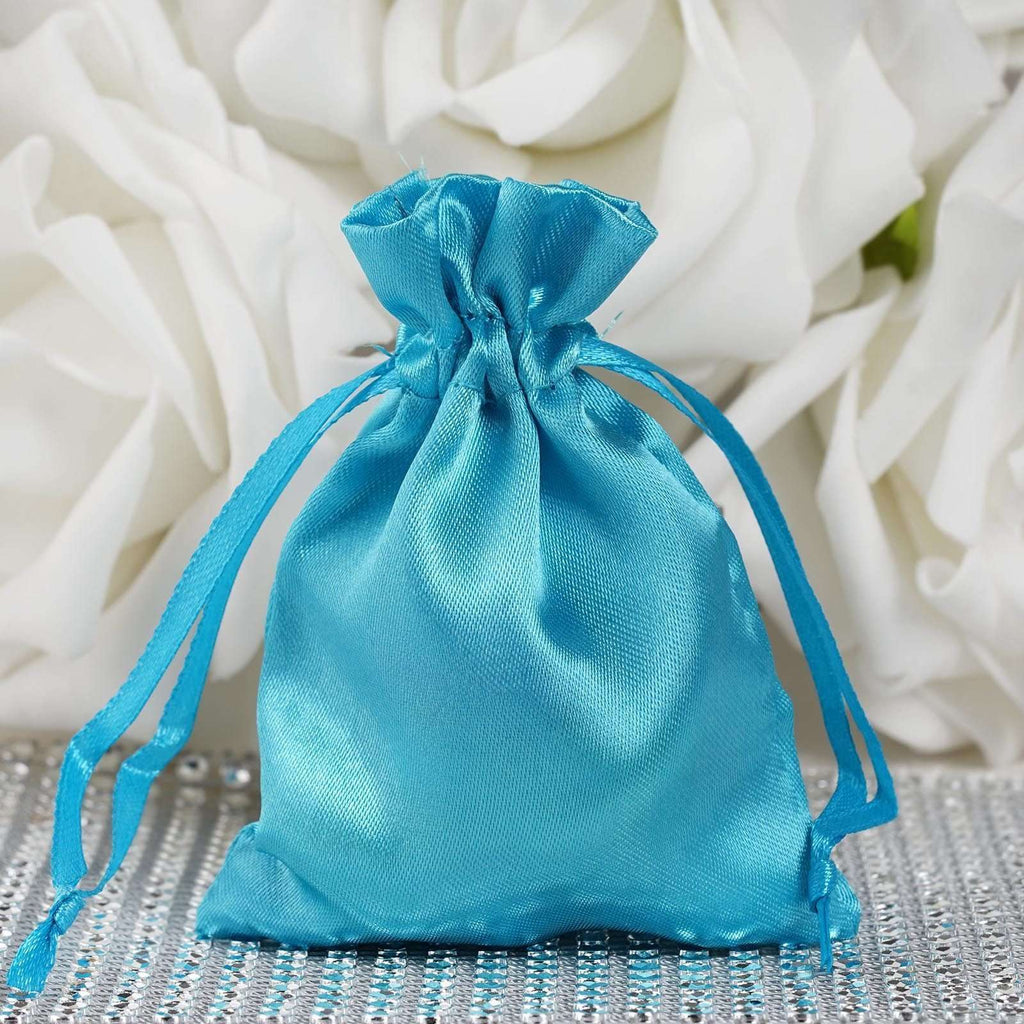 "3 x 4"" Turquoise Satin Bags"