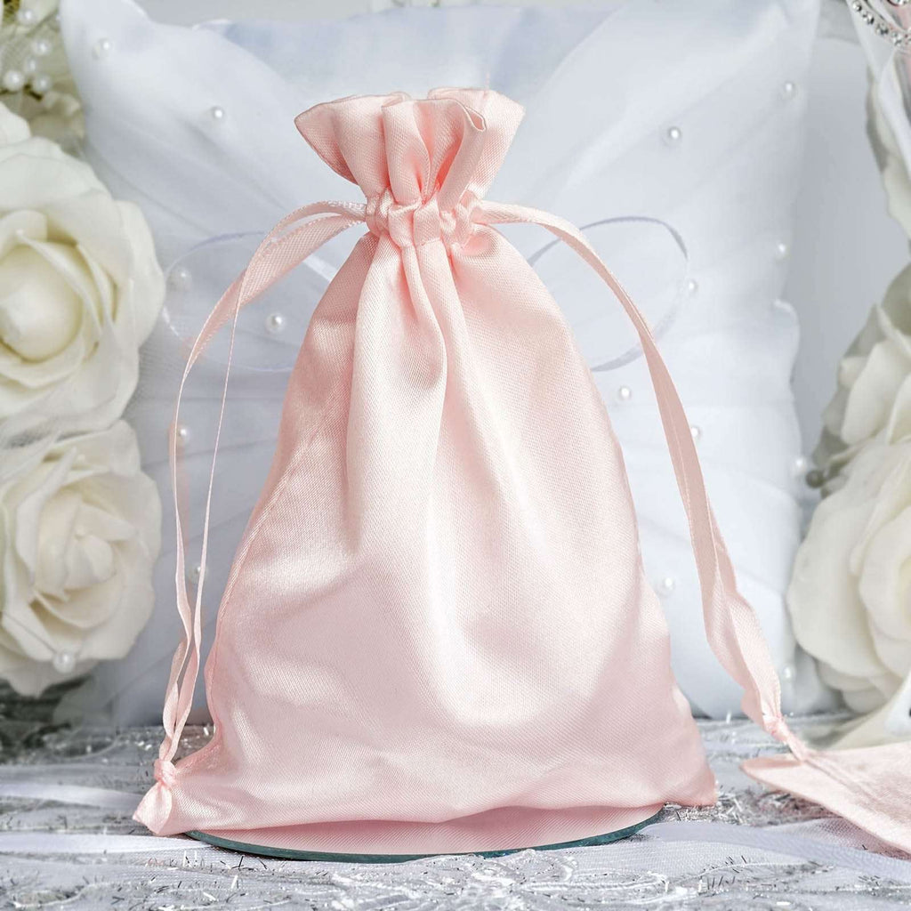 "12 Pack | 5""x7"" Satin Favor Bags Party Drawstring Pouches - Rose Gold 