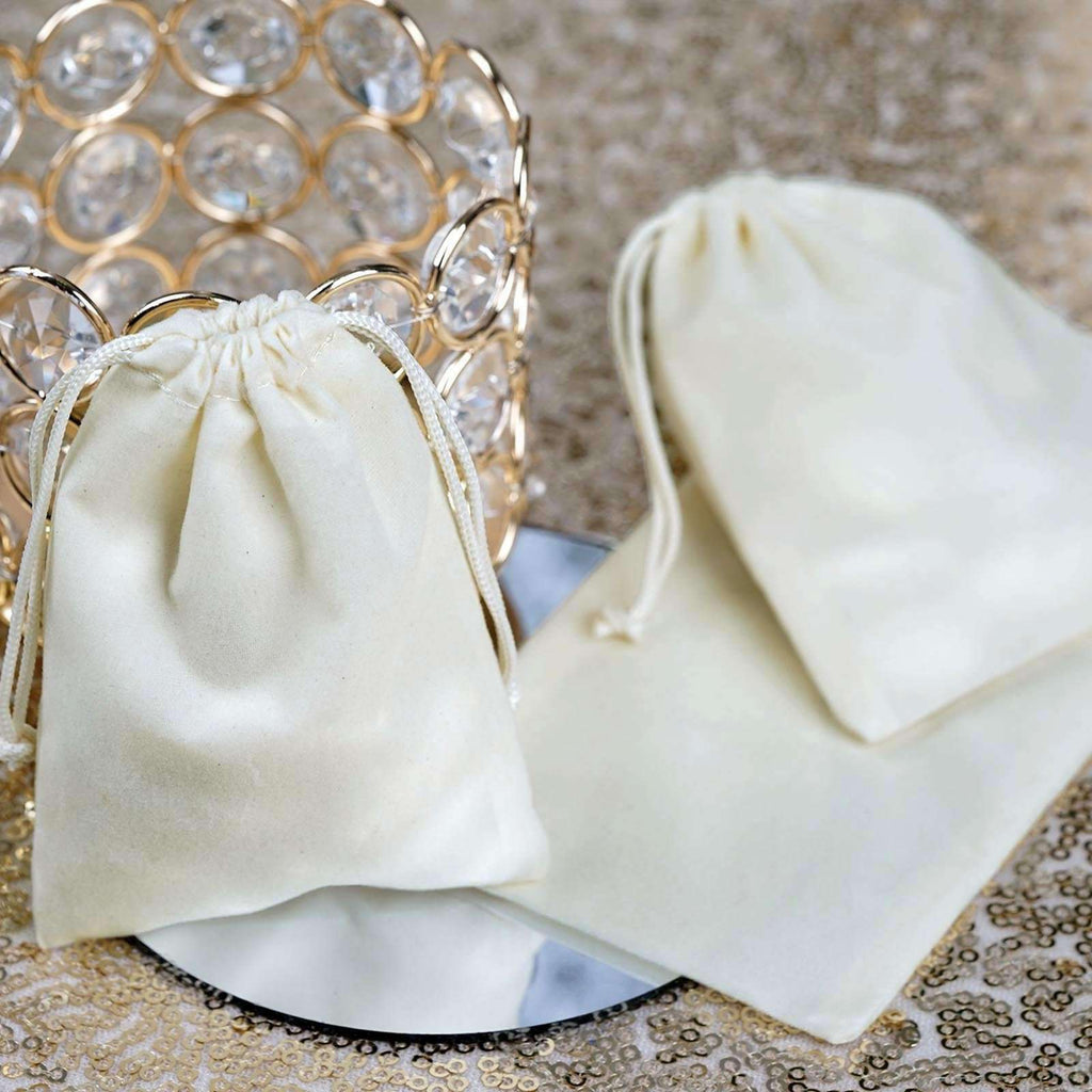 "25 Pack | 3""x4"" Ivory Velvet Favor Bags Party Drawstring Pouches"