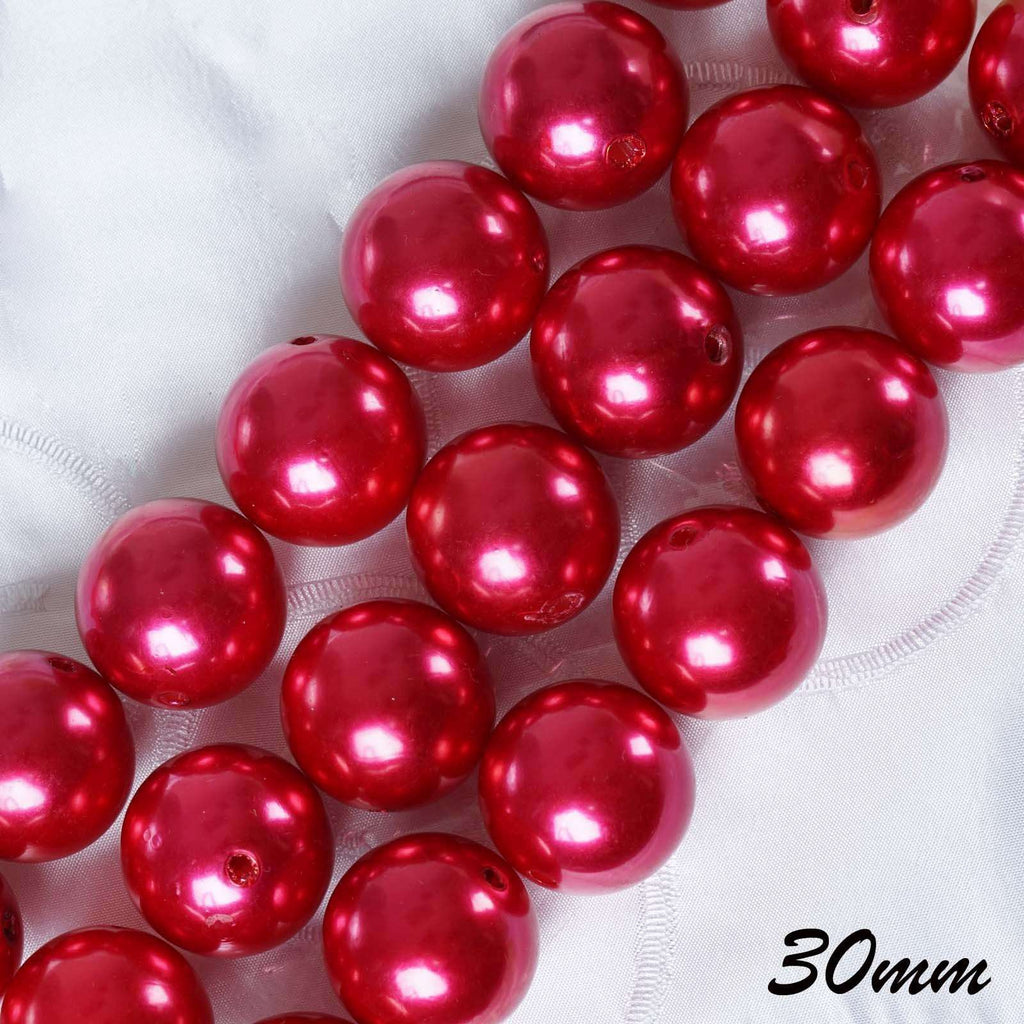 30MM BIG  Faux Pearl Beads Vase Filler Flower Centerpiece Wedding Table Top Decoration - Red - 35 PCS