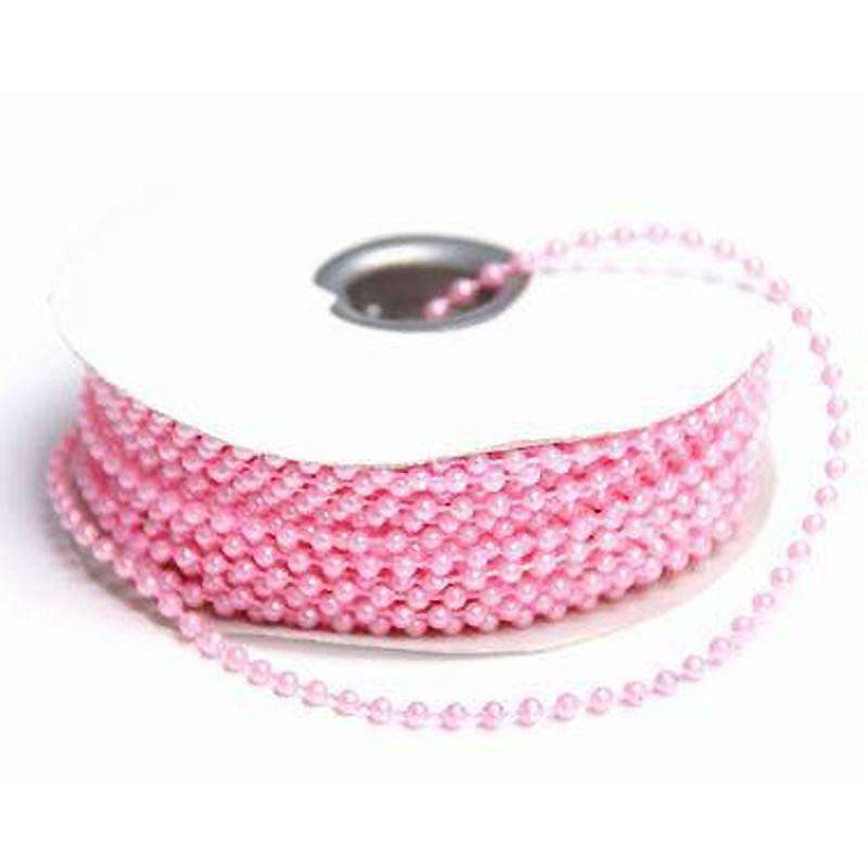 24 Yards 3mm Pink Faux Pearl Beads