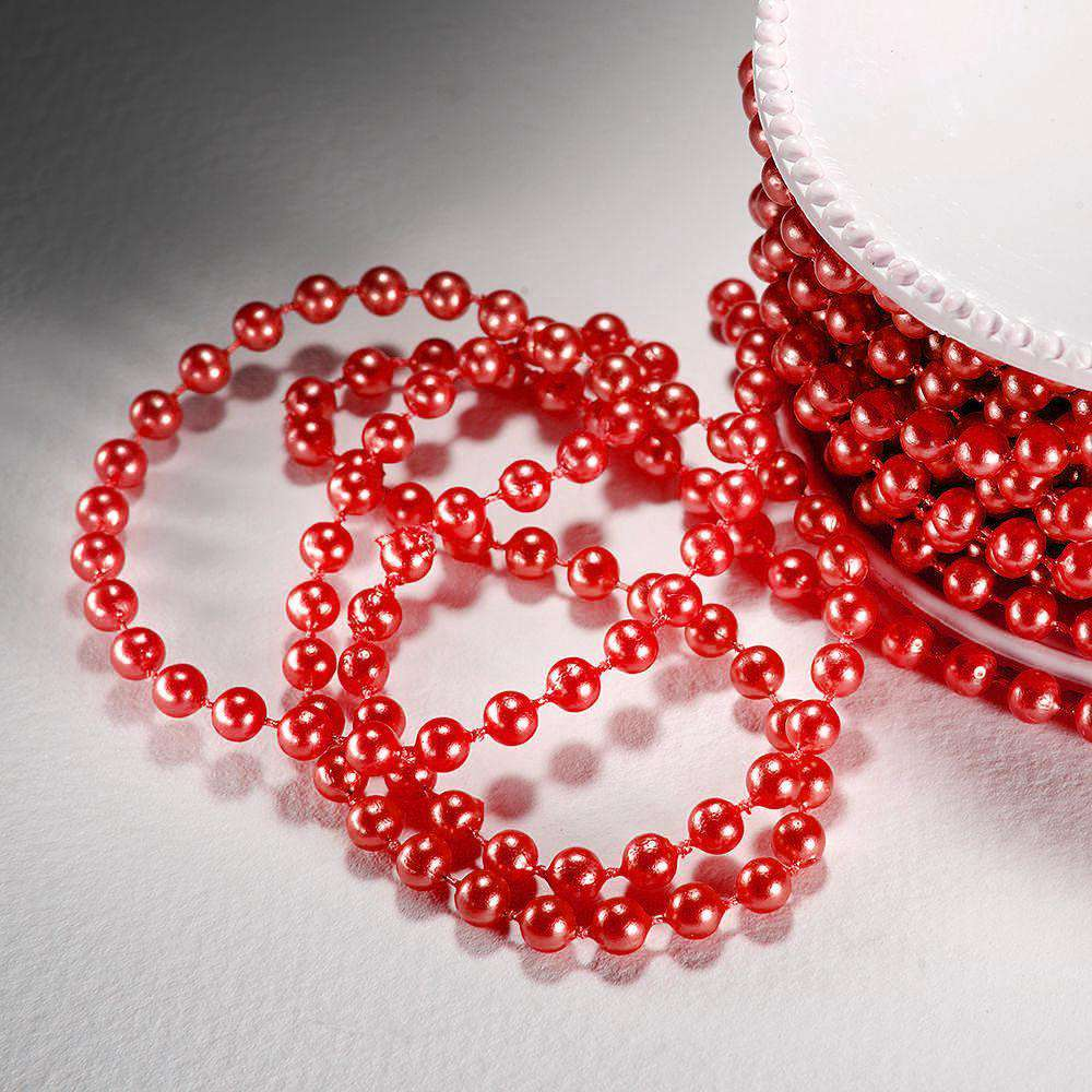 24 Yards 3mm Red Wedding Faux Pearl Beads