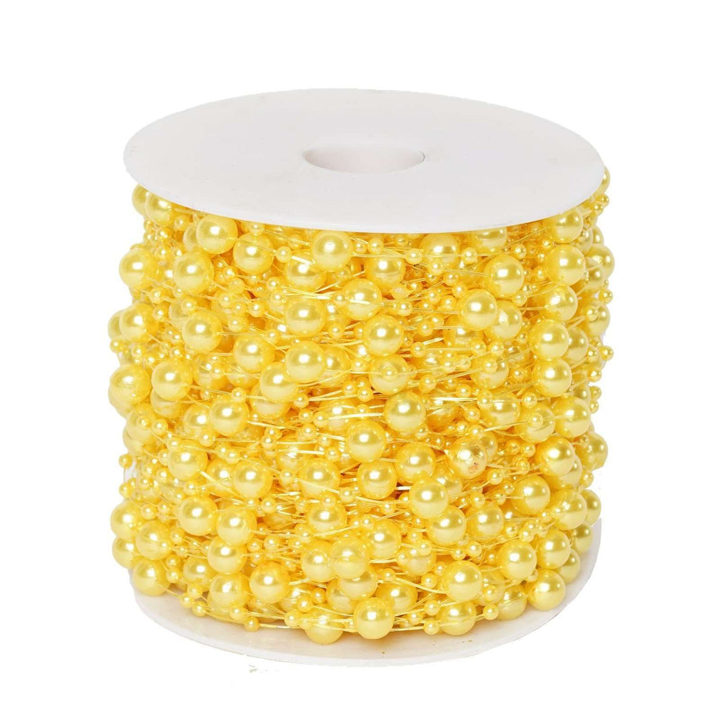 62 FT Yellow Pearl Garland String for Wedding Bridal Corsages Decorations