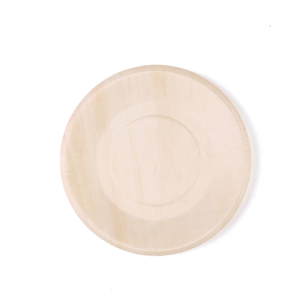 "25 Pack 9"" Birchwood Disposable Round Dinner Plates"