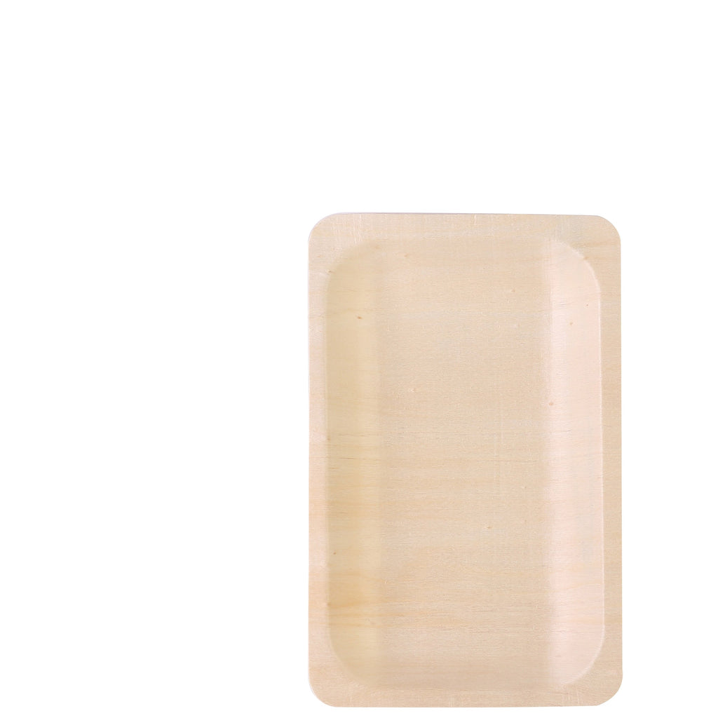 "25 Pack 8"" Birchwood Disposable Rectangular Serving Plates"