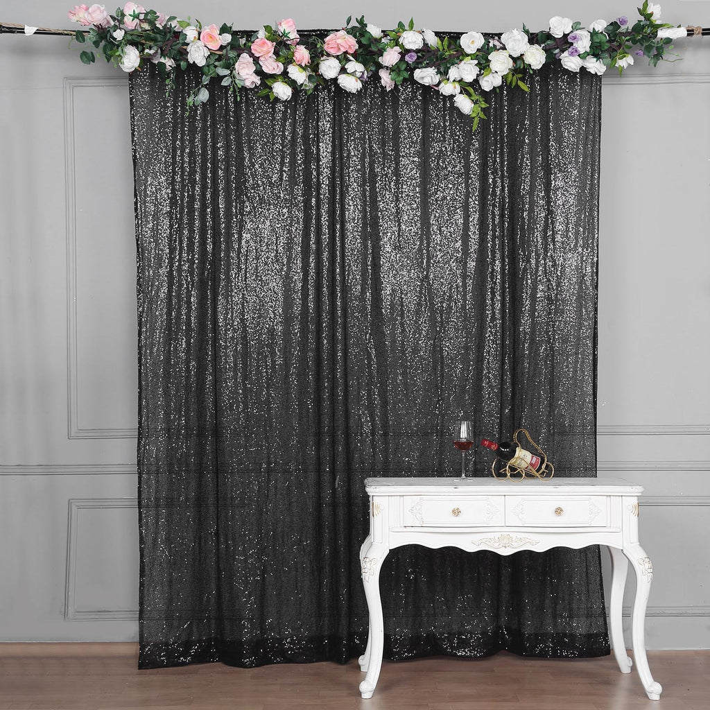 8ft x 8ft Black Sequin Backdrop | Sequin Photo Booth Backdrop