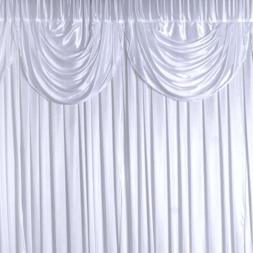20ftx10ft White Classic Double Drape Backdrop Wedding Party Event Decoration
