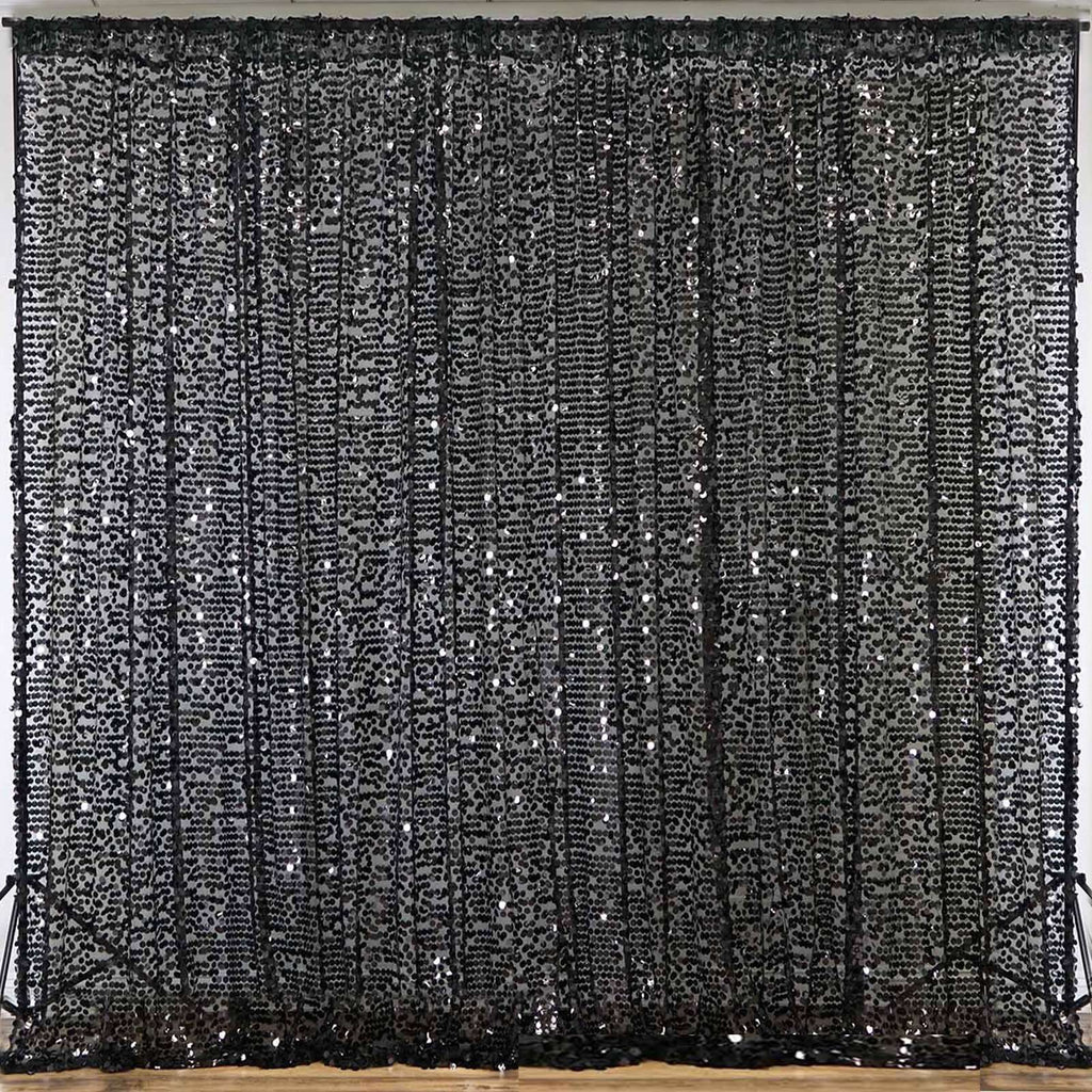 20FT Black Big Payette Sequin Curtain Panel Backdrop Wedding Party Photography Background - 1 PCS