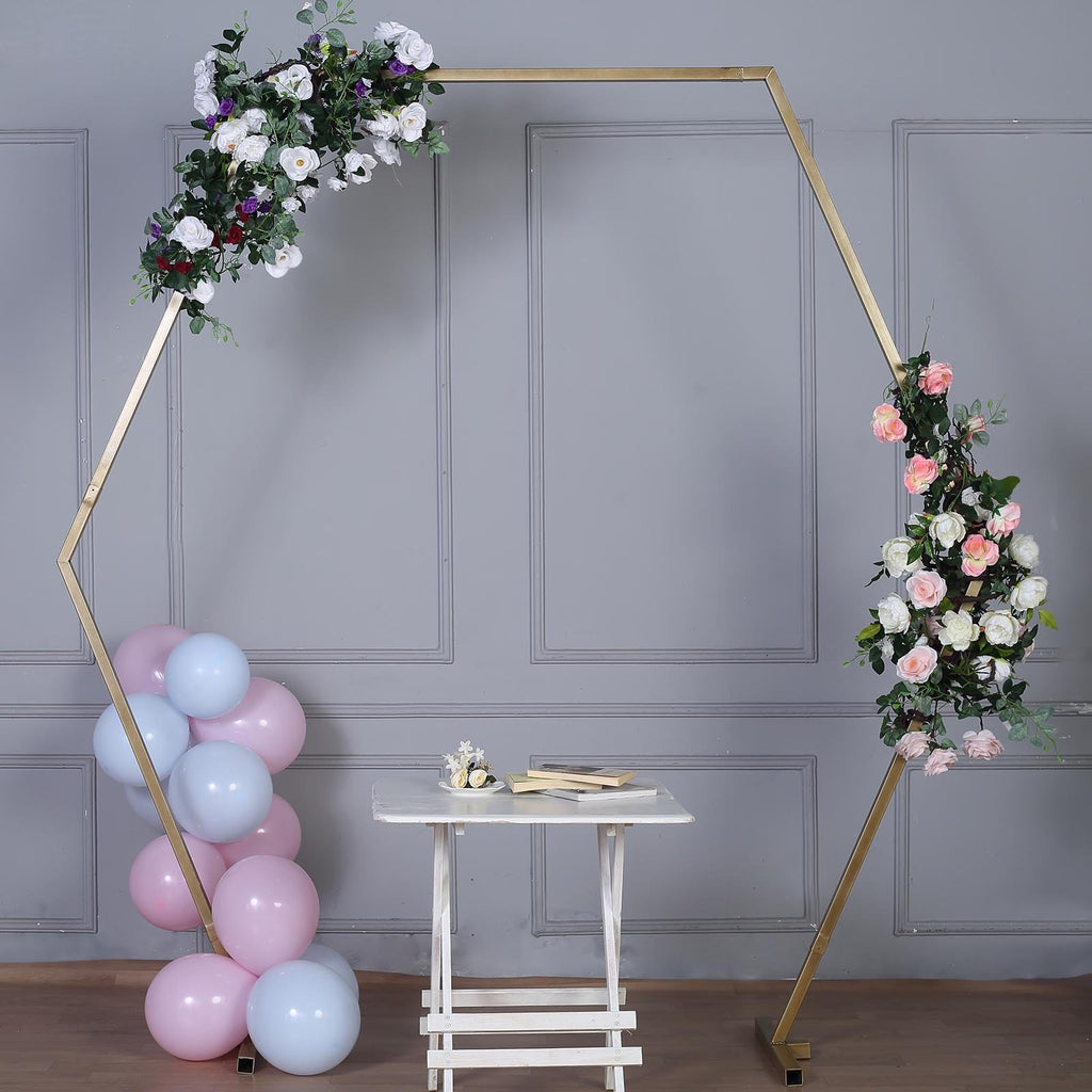8 Ft Gold Metal Hexagonal Wedding Arch Gate Photo Booth Backdrop Stand - 100 Lbs Capacity