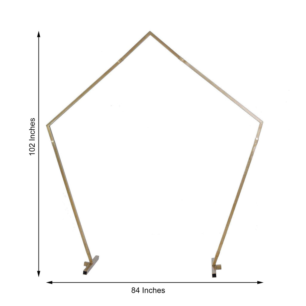 8.5 Ft Gold Metal Pentagonal Wedding Arch Gate Photo Booth Backdrop Stand - 100 Lbs Capacity