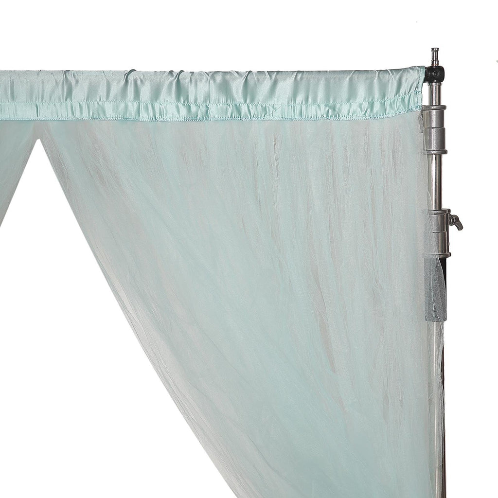 5 FT x 10 FT | Double Sided Tulle Backdrop Sheer Curtain Panels with Satin Rod Pockets | Blue